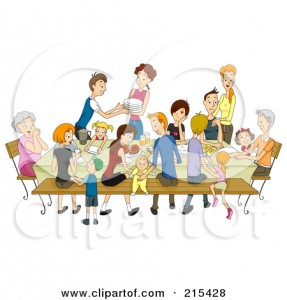 215428-Royalty-Free-RF-Clipart-Illustration-Of-A-Large-Family-Eating-At-A-Reunion